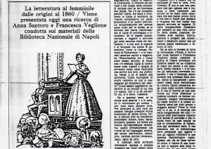 Rassegna stampa sulla presentazione di una ricerca sulla letteratura femminile dalle origini al 1860