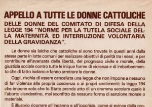 Appello a tutte le donne cattoliche – Comitato di difesa della legge 194