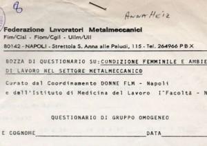 Federazione lavoratori metalmeccanici – Bozza di questionario su condizione femminile