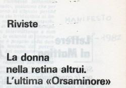 """La donna nella retina altrui. L'ultima """"Orsaminore"""""""