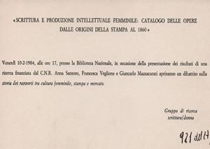 Scrittura e produzione intellettuale: catalogo delle opere dalle origini della stampa al 1860