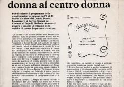 Programma delle iniziative del Marzo donna 1986