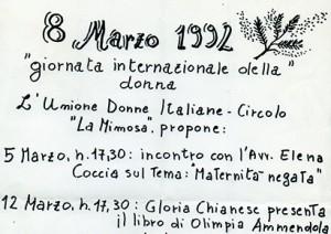 8 marzo 1992: giornata internazionale delle donne