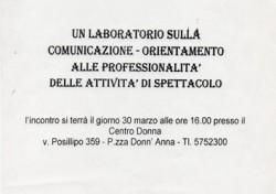Un laboratorio sulla comunicazione – orientamento alle professionalità delle attività di spettacolo