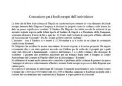 Comunicato per i fondi europei dell'antiviolenza