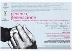 Genere e generazione/rapporto tra donne, territorio e istituzioni nella provincia di Napoli