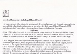 Esposto al Procuratore della Repubblica di Napoli