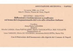Riflessioni e testimonianze a confronto sul tema del cinquantenario del voto alle cittadine italiane