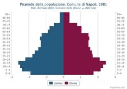 Piramide della popolazione residente. Comune di Napoli. 1981 – Valori percentuali.