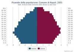 Piramide della popolazione residente. Comune di Napoli. 2001 – Valori percentuali.