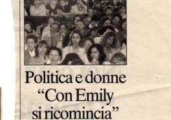 """Politica e donne """"Con Emily si ricomincia"""""""