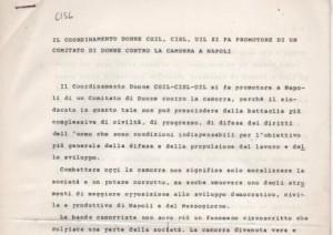 Il coordinamento donne CGIL, CISL, UIL si fa promotore di un comitato di donne contro la camorra a Napoli
