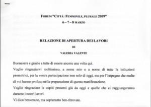 """Forum """"Città: Femminile, plurale 2009"""""""
