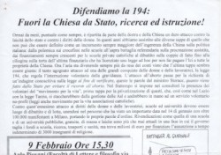 Difendiamo la 194: Fuori la Chiesa da Stato, ricerca ed istruzione!